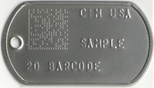 2D Data Matrix Dog Tag 2