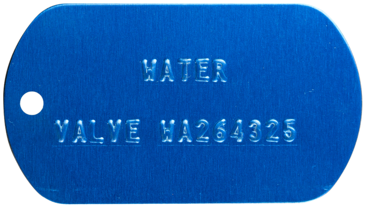 embossed blue dog tag