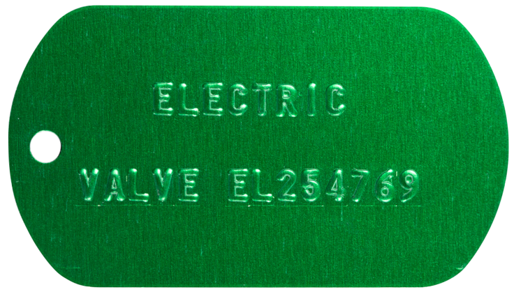 Embossed colored tag