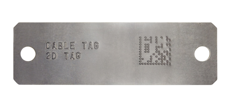 2D barcode embossed metal tag