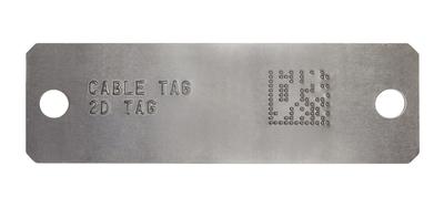 2D barcode embossed metal tag